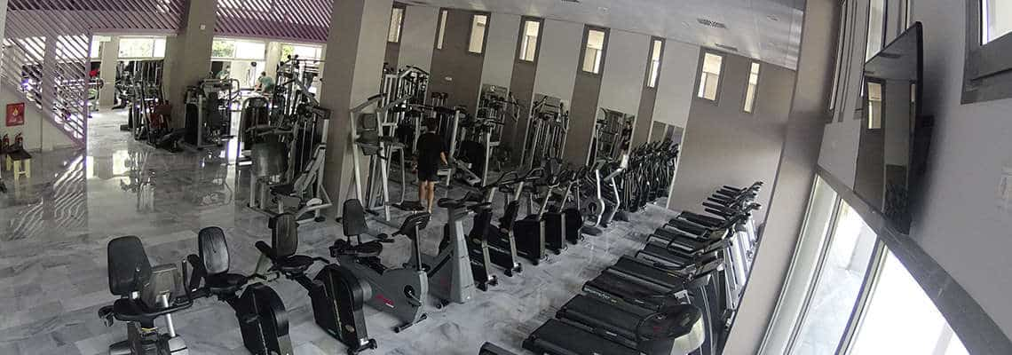 Axion Fitness Club Main Room with Gym Bicycles and Spinning Bikes